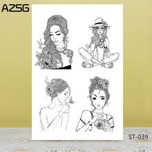 AZSG Charming mature woman Clear Stamps/Seal For DIY Scrapbooking/Card Making/Album Decorative Silicon Stamp Crafts