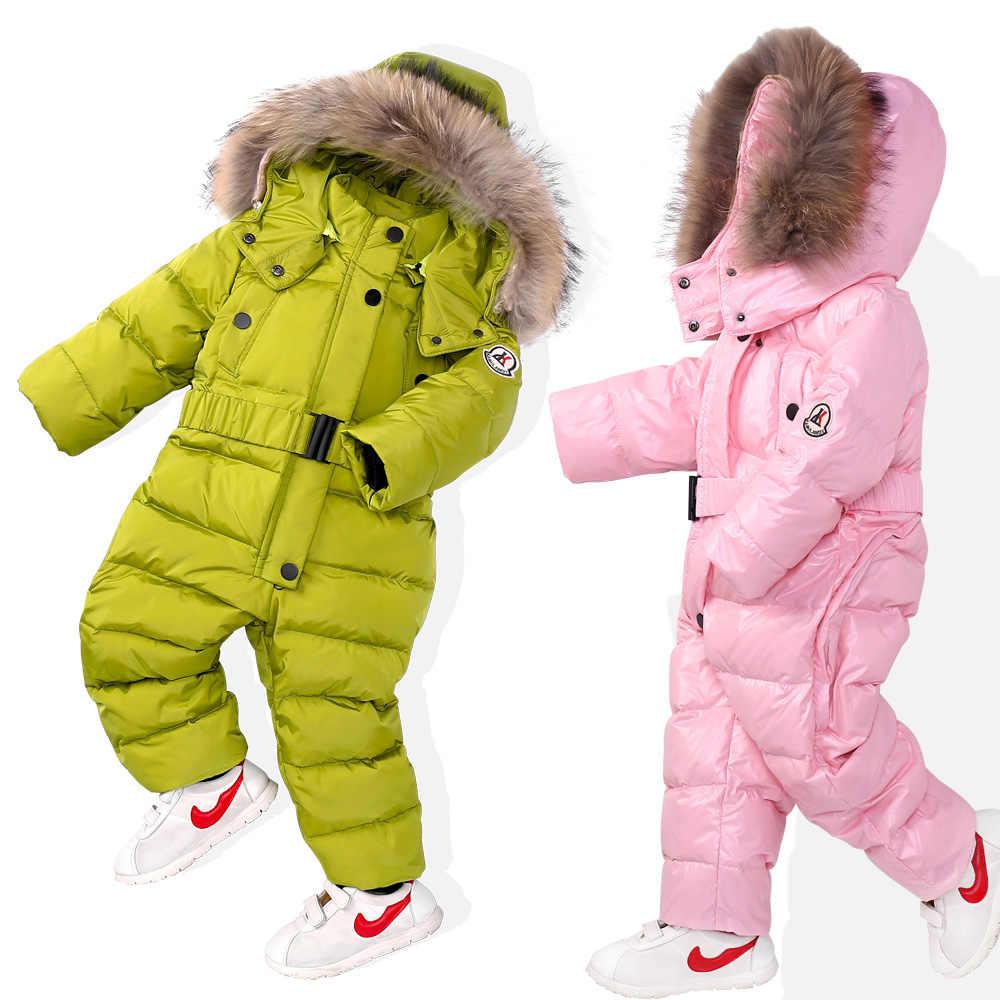 1f3b9e7b7 Winter Snowsuit Boy Baby Jacket Duck Down Outdoor Infant Clothes Girls  Clothing For Boys Kids Jumpsuit Park Coat Fur Child