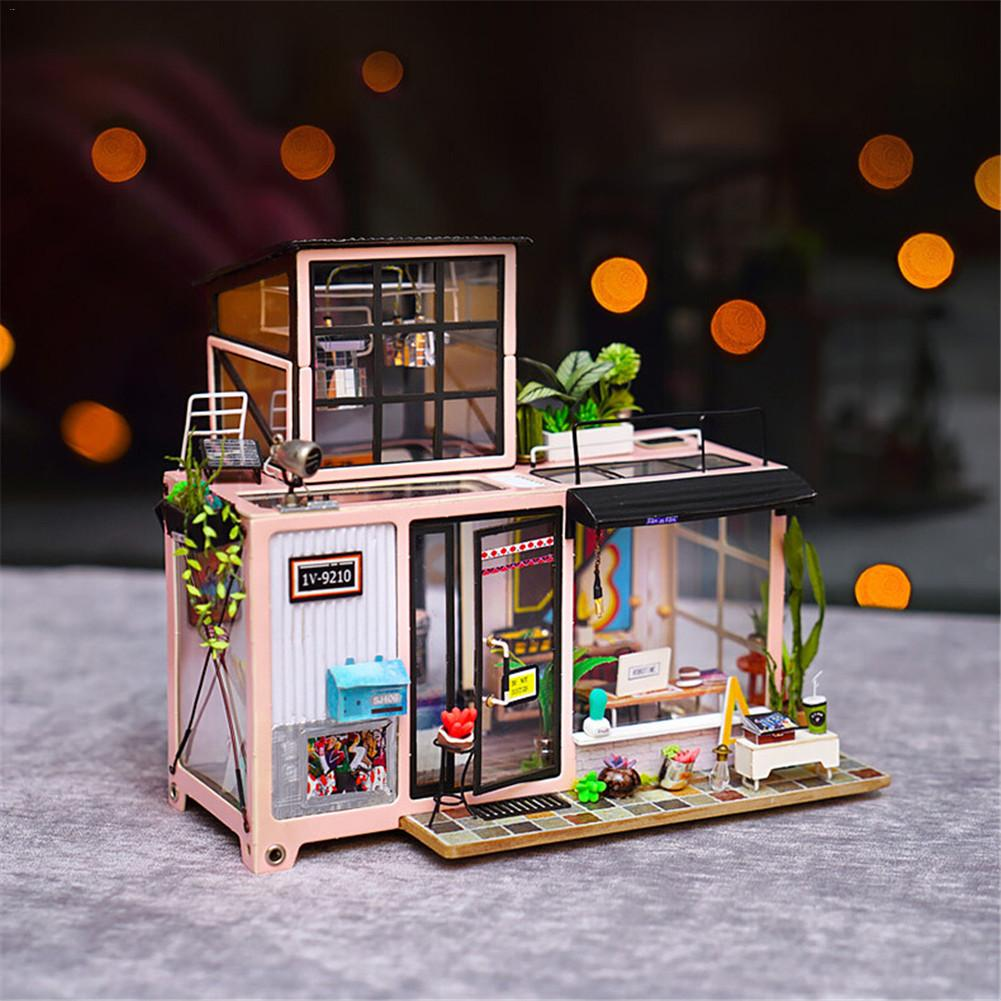 Кукольный дом Kevins Studio работа номер DIY кабина миниатюрный 3D деревянный детей подарок на день рождения орнамент светодиодный свет