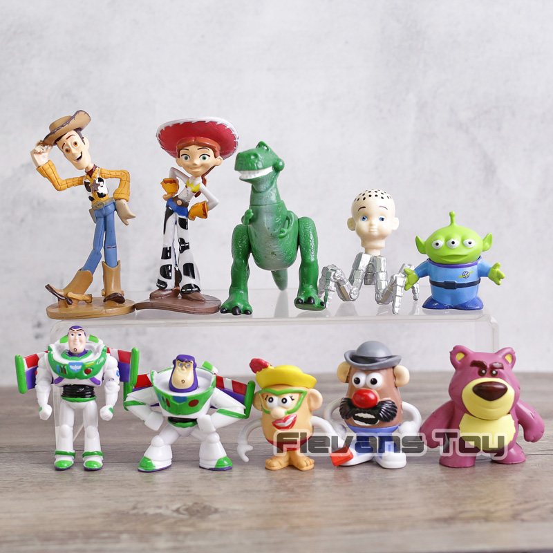 Toy Story Woody Buzz Lightyear Jesse Rex Mr Potato Head Alien Lotso Mini PVC  figuras juguetes niños regalo 10 unids set - Memang Store b325b483b01