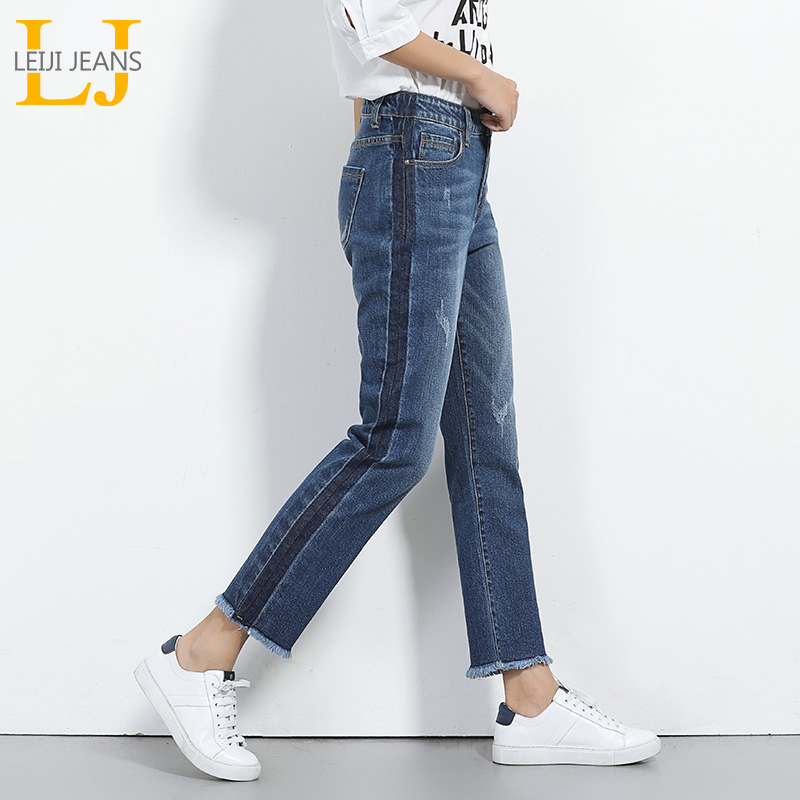 2019 LEIJIJEANS Spring Plus Size Side Fashion Shawdow Ripped Bleached Tassel Mid Waist Ankle Length Loose Straight Women   Jeans