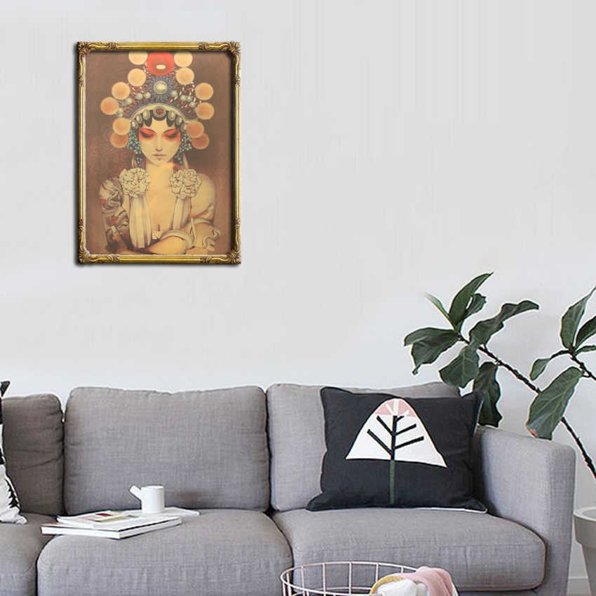 Галстук Лер Пекинская опера маска девушка картина крафт бумага Плакат кафе декоративная живопись комнаты наклейки на стену