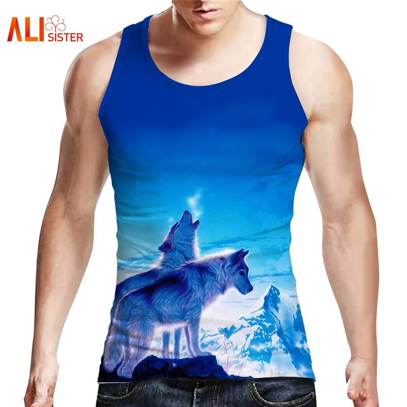Alisister Harajuku Vest Men/Women 3d Print Blue Wolf   Tops   Hip Hop Brand Animal   Tank     Tops   Summer Bodybuilding Tees EUR Size