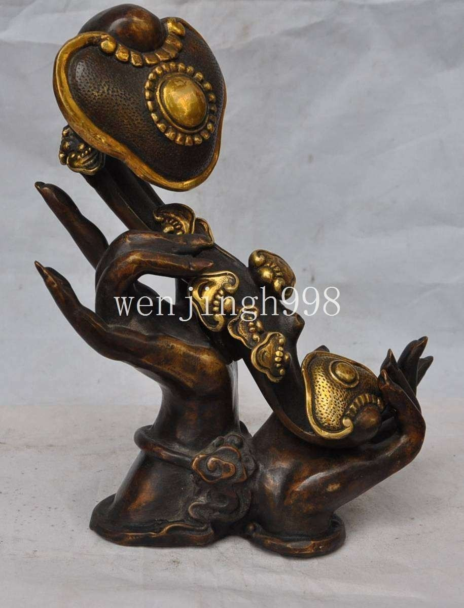 christmas Chinese Classic Feng shui Bronze Hand Hold Ruyi Wealth lucky Statue Decoration halloween