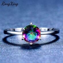 Rongxing mystic fire rainbow birthstone anéis para mulher prata cor jóias multicolorido zircon seis garra anel redondo