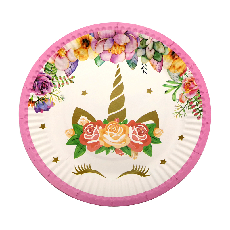 70PCS Flower Unicorn Theme Happy Birthday Party Plates Decorate Cups Napkins Baby Shower Banner Flags Girls Favors Tableware Set in Disposable Party Tableware from Home Garden