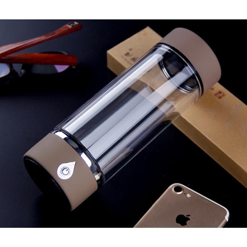 New Hydrogen Rich Water Bottle Portable Drinking Cup Double Glass Hydrogen Water Generator Alkaline Water Ionizer Bottle YS001