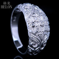 ART DECO VINTAGE ANTIQUE PAVE DIAMOND WEDDING ETERNITY BAND RING 925 STERLING SILVER WHITE GOLD PLATED