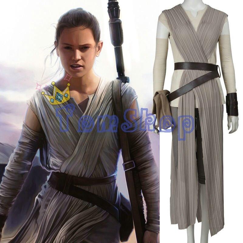 Star Wars The Force Éveille Rey Cosplay Uniforme de Costume Femmes Halloween Fantaisie Partie Costumes Ensemble Complet Personnalisé Taille