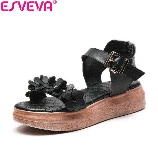 ESVEVA 2018 Women Sandals Shoes Flat Med Heels Buckle Strap Sandals Flower Elegant Fashion Summer Sandals Women Shoes Size 34-43