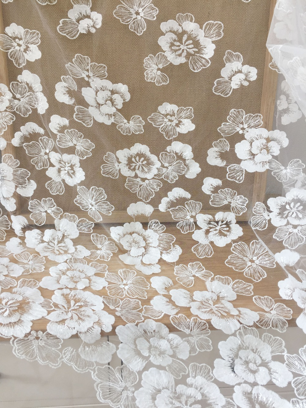 1 Yard Clear Sequin Floral Embroidery Lace Fabric in Off White, Daisy Couture Dress Fabric by Yard for Wedding Gown Bridal Dress