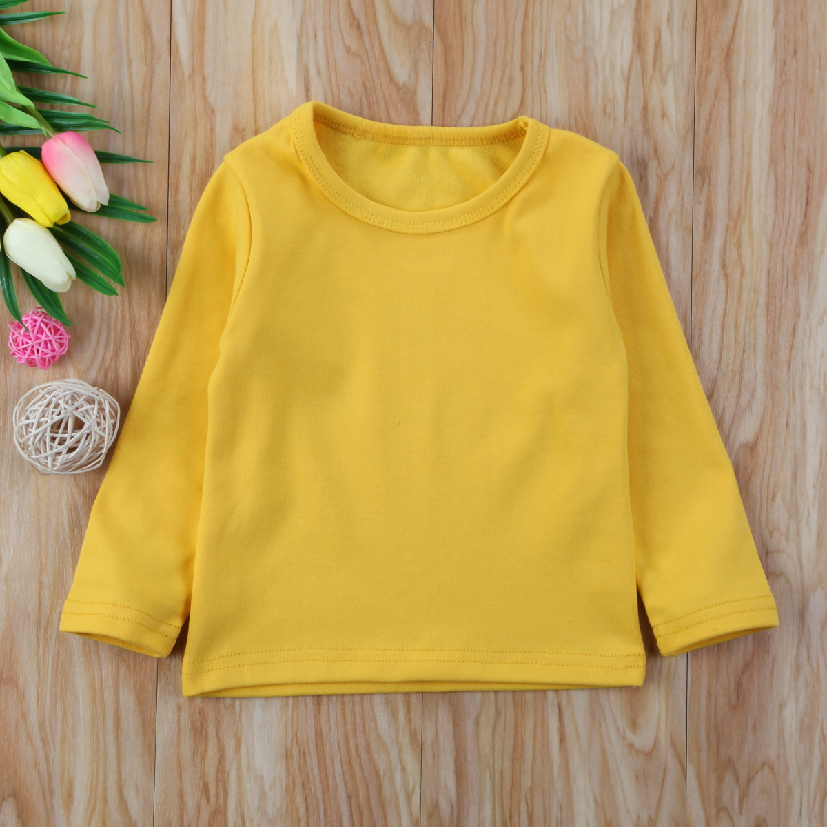 Autumn Cotton Newborn Infant Kids Baby Boys Girls Clothes Solid Cotton Soft Clothing Long Sleeves T-shirt Tops 11