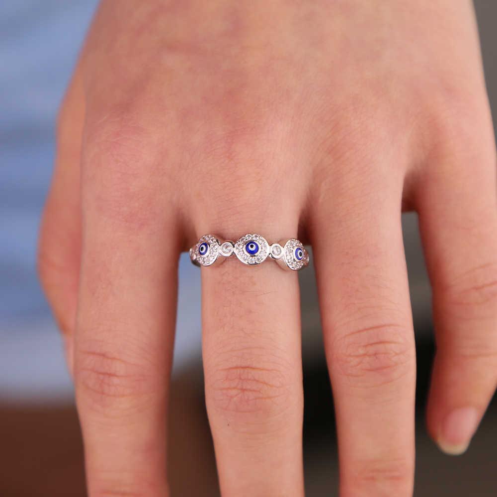 เงินสีขาว cz เคลือบสีฟ้าตุรกี evil eye eternity band แฟชั่น lucky ผู้หญิงแหวนนิ้วมือ