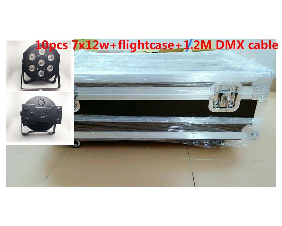 10pz 7x12W+ flightcase+ 1.2m cavo Dmx LED Flat SlimPar Quad Luce 4in1 LED DJ Wash Stage Light dmx luce della lampada 4/8 channes cavo top 10