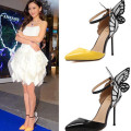 Big Size Shoes Women 2017 Spring Autumn Butterfly high heel Pumps pointed toe stilettos Buckle Ladies Pumps Shoes Black/yellow