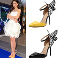 Zapatos de Tallas grandes Mujeres 2017 Otoño del Resorte de La Mariposa de tacón alto Bombas stilettos punta estrecha Hebilla de Las Señoras Bombea Los Zapatos Negro/amarillo