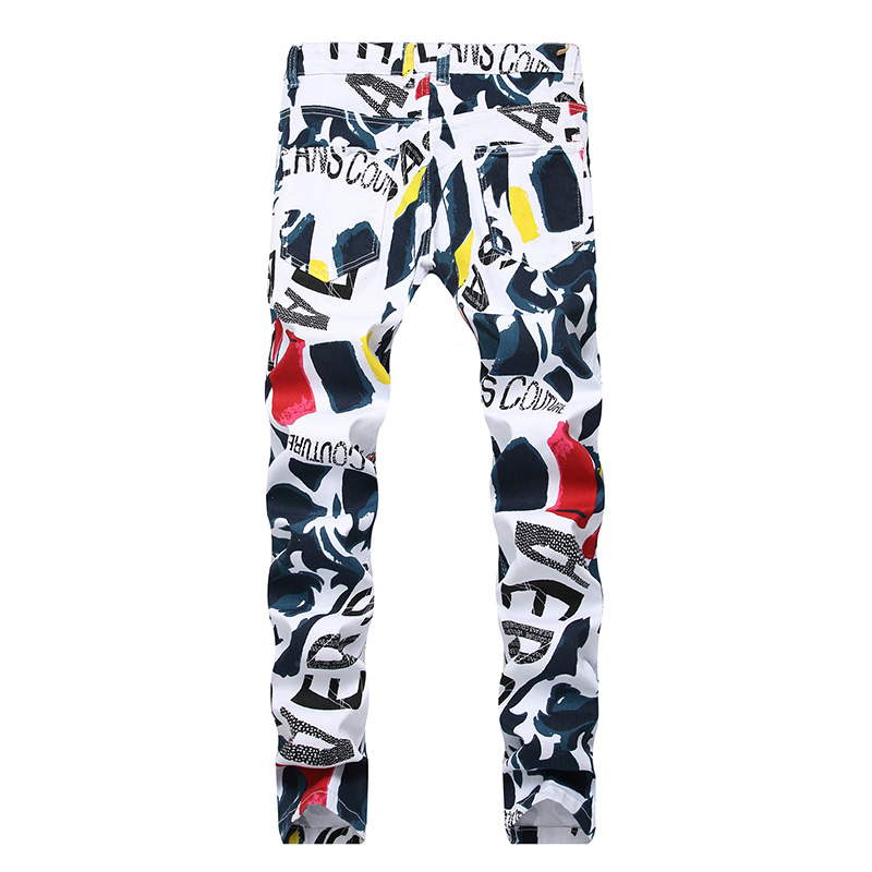 New Men's Fashion Jeans White Casual Stretch Slim Jeans Classic Trousers Denim Pants Male Trousers Sweat Pants  Streetwear