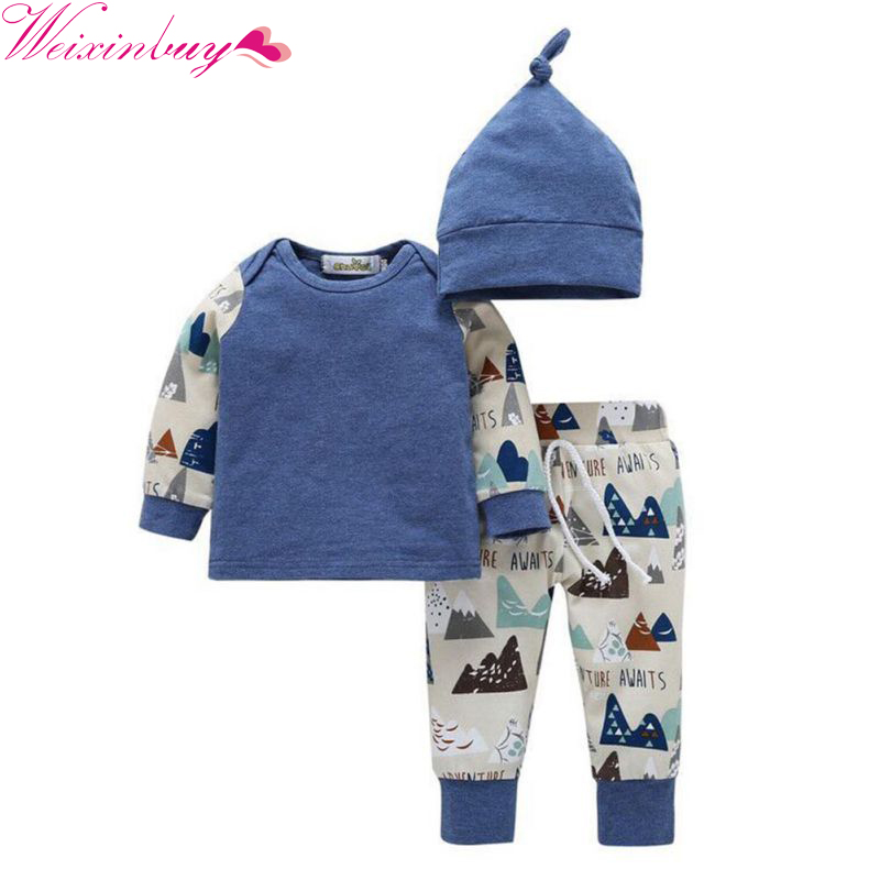 3PCS Kids Boys Girls Clothing Sweatshirt Bottoms Pants Hat Clothes Set Spring Summer Newborn Baby Cloth