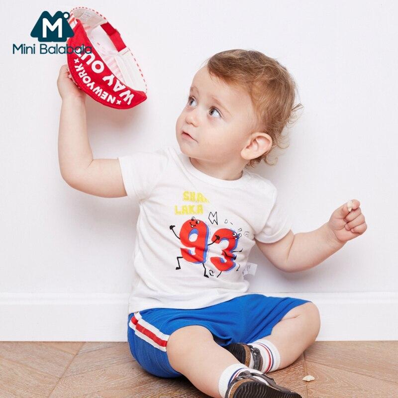 Mini Balabala Baby Boy 2-Piece 100% Cotton Short-sleeved T-Shirt Open Shoulder + Side Stripe Sport Shorts Set Infant Baby Outfit