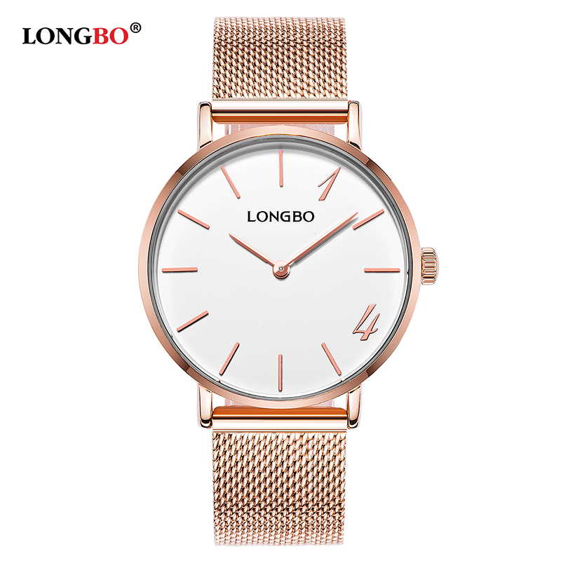 LONGBO Quartz Watch lovers Watches Women Men Couple Steel Band Wrist Watches Fashion Casual Watches Gold Gift Stainless Steel longbo men and women stainless steel watches luxury brand quartz wrist watches date business lover couple 30m waterproof watches