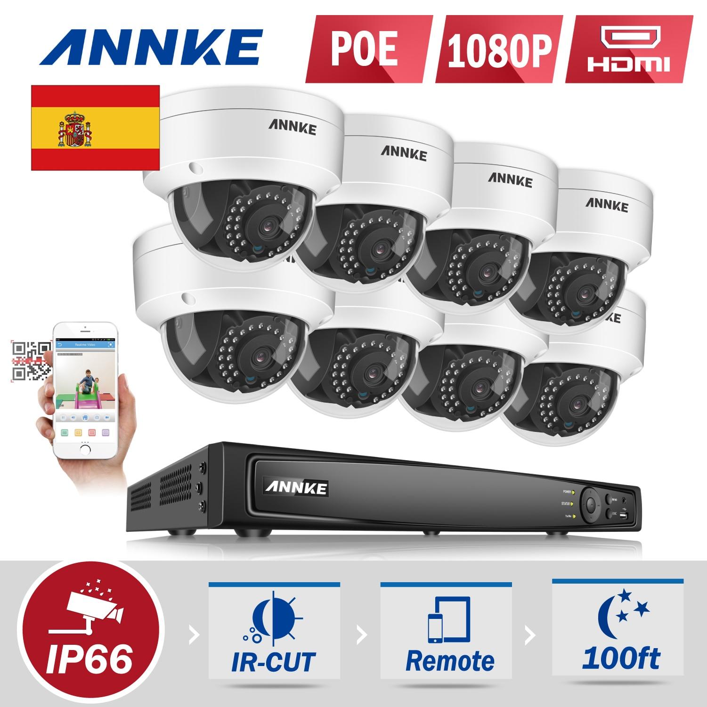 Venta de liquidación para España  annke 8CH 6MP Poe sistema de cámaras de  seguridad 8 unids 2.0MP 1080 p Full HD red de seguridad IP Cámara PoE 57dbb78818df