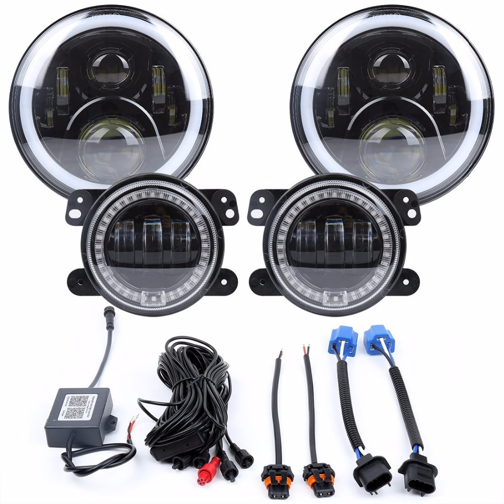 7 inch RGB Headlights,7 inch LED Headlamp + 4 inch RGB Fog Lights Front Bumper Lights with RGB Halo Ring for Jeep Wrangler JK