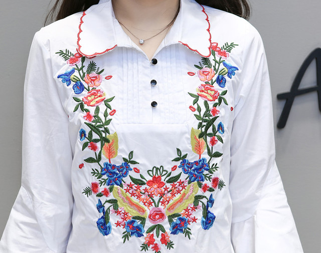 2017 Summer and Spring New Plus Size Dress Ruffles Embroidery with Flare Sleeve Mini Dress for Women Dresses