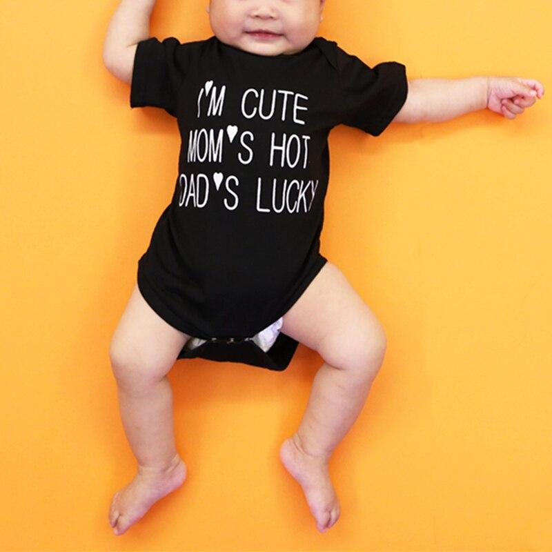 Ik ben Cute Mom's Hot Dad's Lucky Letter gedrukt lange mouwen Baby - Babykleding - Foto 1
