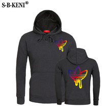 2018 ADI Hoodies Men Clothes  Sweatshirts New Gradient color Print Brand Warm Hoody Mens/Women Fleece Unisex Hooded Sweatshirt