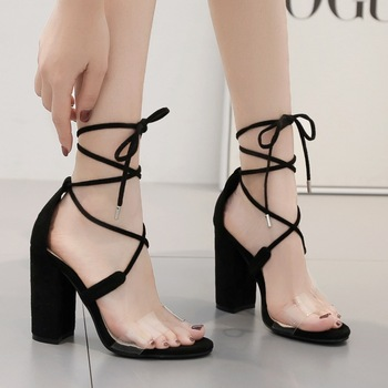 sandals women gladiator shoes lady high heels sandals ladies 2019 summer madam white sandals luxury clear Sexy Square heel Strap