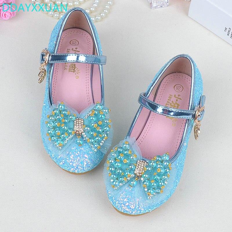 Girls Princess Shoes 2017 New Spring Bright length Children Wedding Sandals Female Bowknot Dancing Kids dress Shoes EU 26~37