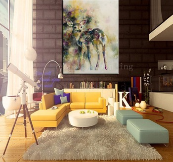 Handmade Fine Wall Artwork Abstract Watercolor Deer Canvas Picture Decor Handpainting Calligraphy Christmas Gifts Oil Paintings