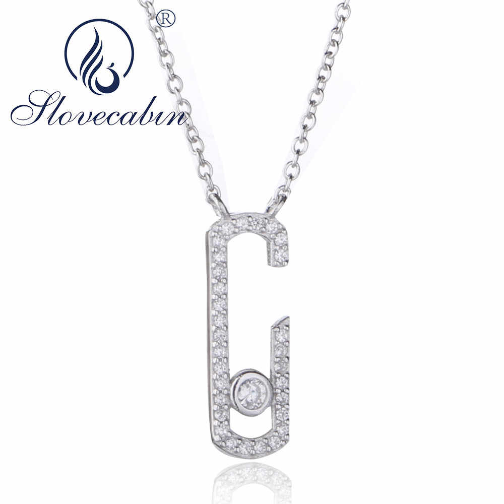 Slovecabin 925 Sterling Silver Move Crystal Zircon Jewelry Quartz Authentic Link Chain Move Pendant Necklace Chains for Women