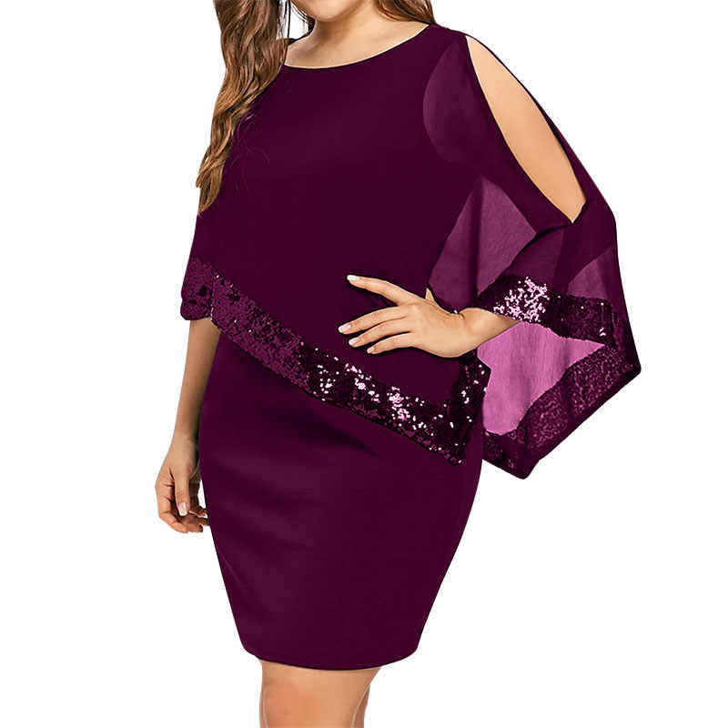 ... Sexy Sequined Overlay Capelet Dress 2018 Dress O-Neck Short Sleeve  Women Bodycon Party. RELATED PRODUCTS. Wipalo Plus Size 5XL Capelet Knee  Length ... 83a393bad56f