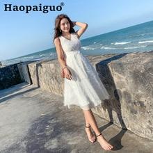 Big Swing White Dress Women V-neck Empire Sleeveless Solid Women Dress with Tassel Summer Dress Plus Size Vestidos De Verano недорого