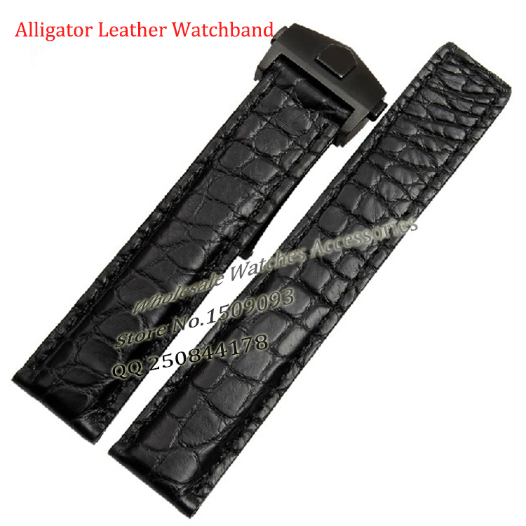 Alligator Leather Watchband 19mm 20mm 22mm Straps Bracelet Black Blue Stainless steel clasp deployment High Quality