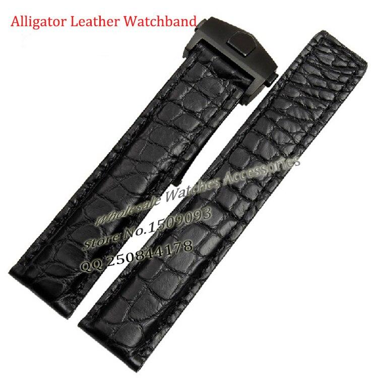 Bracelet en cuir Alligator 19mm 20mm 22mm Bracelet à bretelles noir bleu en acier inoxydable fermoir déploiement de haute qualité pour marque