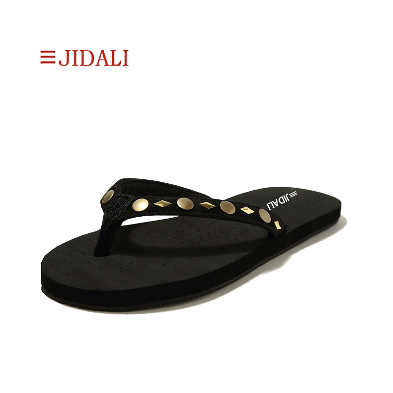 JIDALI Mode Femmes de Noir Flip Flop Cercles Rond En Métal Goujons En Plein Air Pantoufle D'été Taille 35-41