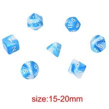 Polyhedral Mixed Color Dice 7pcs/Set For Board Games D4,D6,D8,D10,D%,D12,D20