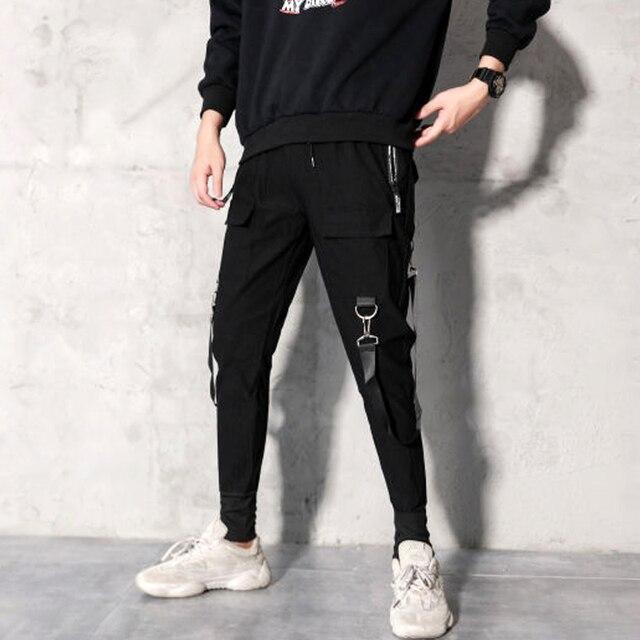 2019 Men Streetwear Pants Black Harem Pants Light Men Punk Pants Ribbons Casual Slim Jogger Pants Men Hip Hop Trousers LBZ138 32