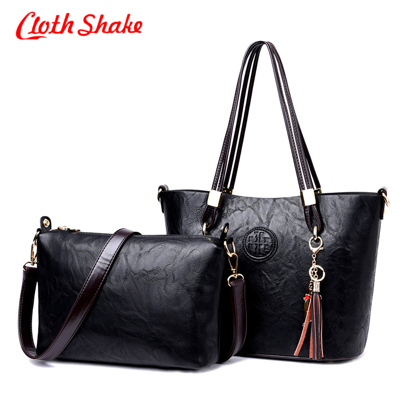 New Women's Handbag High Quality PU Leather Lady Bags Handbags Girls Famous Brands Big Casual Tote Bag Ladies Shoulder Bags 2Set