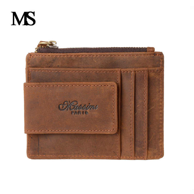 MS Men's Genuine Leather Money Clip Famous Brand Card Wallets Cow Leather Coin Bag RFID Blocking Lining TW1669
