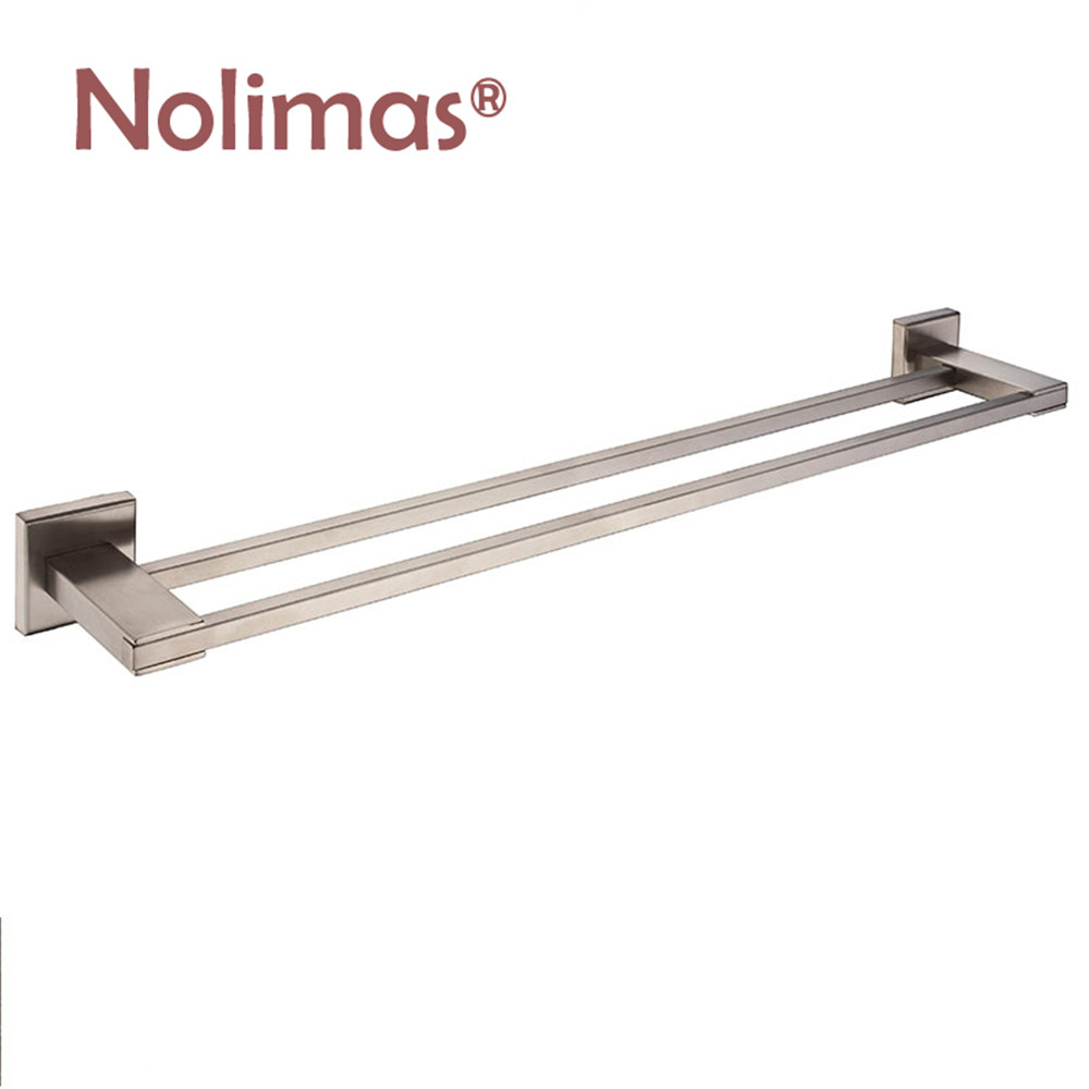 SUS 304 Stainless Steel Double Towel Bar Square Square Towel Rack Bathroom Chrome Brushed Wall Mounted Towel Holder stainless steel square towel ring chrome finishing flg8902