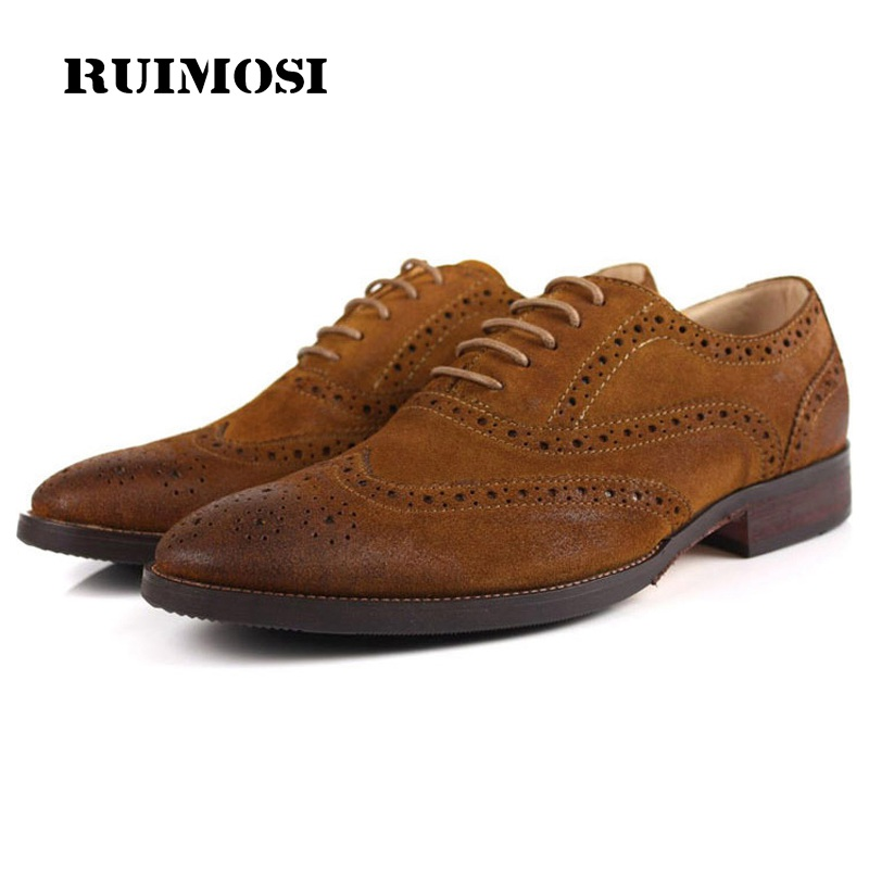 RUIMOSI Vintage Wing Tip Man Suede Dress Shoes Genuine Leather Brogue Oxfords Male Luxury Brand Formal Men's Fashion Flats LF83