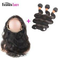 Fashion Lady Pre-Colored Brazilian Remy Hair Body Wave 3 Bundles 100% Human Hair Weave Bundles With 360 Lace Frontal Closure