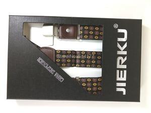 Image 4 - 2019 Fashion Mens suspenders Genuine leather Jacquard mens trouser braces 6 clips adult suspensorio tirantes hombre bretelles