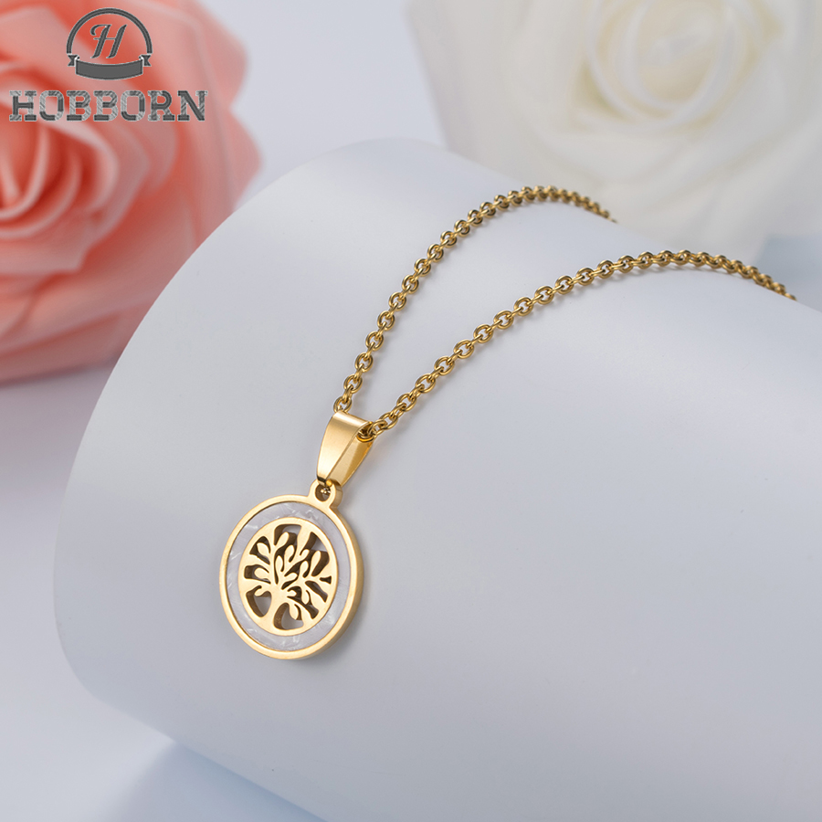 HOBBORN Trendy New Gold Color Tree of Life Chakra Pendant Necklace Women Link Chain Shell Stainless Steel Necklaces Jewelry Gift