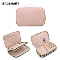BAGSMART Travel Women Jewelry Bag Double Layer Necklace Holder Earring Ring Pouch Bracelet Watch Jewelry Bags