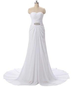 Holievery Sweetheart Neckline Chiffon Beach Wedding Dresses 2019 Boho Wedding Gowns Sweep Train Beaded Bridal Gown Gelinlik фото
