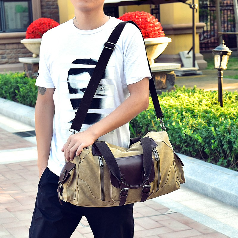 Famous Brand Men Vintage Canvas Men Travel Bags Women Weekend Carry On Luggage & Bags Leisure Duffle Bag Large Capacity Handbags (24)